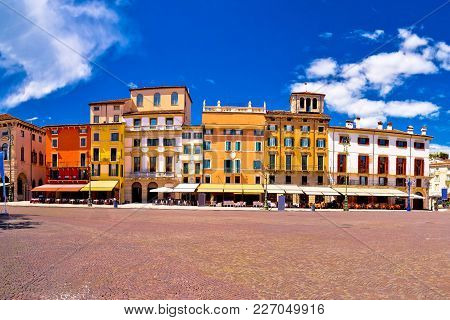 Piazza Bra Square In Verona Colorful View, Landmark In Veneto Region Of Italy