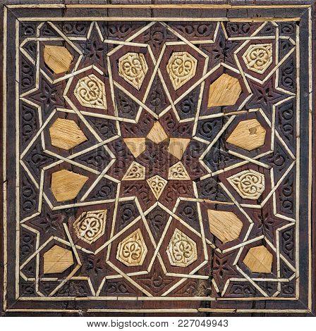 Closeup Of Arabesque Seamless Geometric Pattern On An Ancient Wooden Pulpit (minbar), Cairo, Egypt