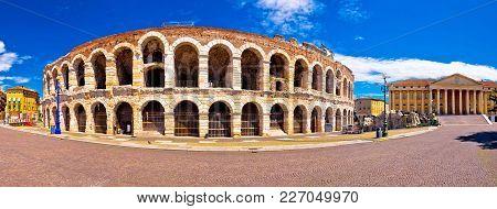 Roman Amphitheatre Arena Di Verona And Piazza Bra Square Panoramic View, Landmark In Veneto Region O