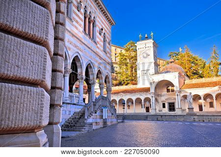 Ancient Italian Square Arches And Architecture In Town Of Udine, Friuli Venezia Giulia Region Of Ita