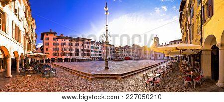 Piazza San Giacomo In Udine Sunset Panoramic View, Town In Friuli Venezia Giulia Region Of Italy