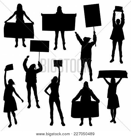 Vector Silhouettes Of Girls  Marching In Protest With Banners, Protesting And Being In Demand For Po