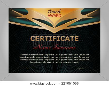 Horizontal Certificate Or Diploma Template With Gold And Turquoise Decorative Elements On Black Back
