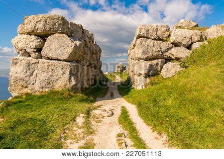 Rocks On The South West Coast Path On The Isle Of Portland, Jurassic Coast, Dorset, Uk