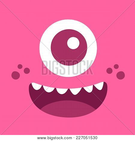 Pink Monster Face. Square Avatar. Vector Stock.