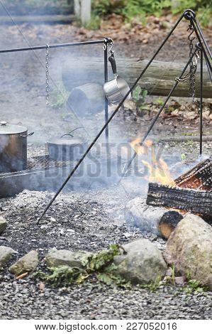 Outdoor Pioneer Cooking Open Fire In Frontier Fort