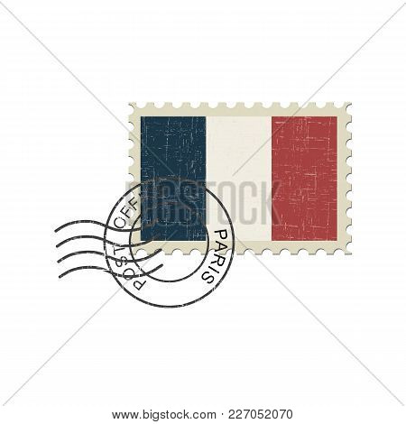 Postage Stamp France Flag . Isolated Vector Illustration.