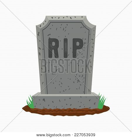 Gravestone With Grass On Ground. Old Tombstone On Grave With Text Rip. Vector Illustration.
