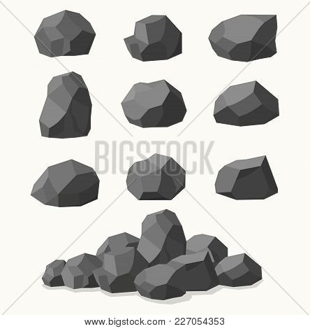 Pile Of  Stones, Graphite Coal On A White Background