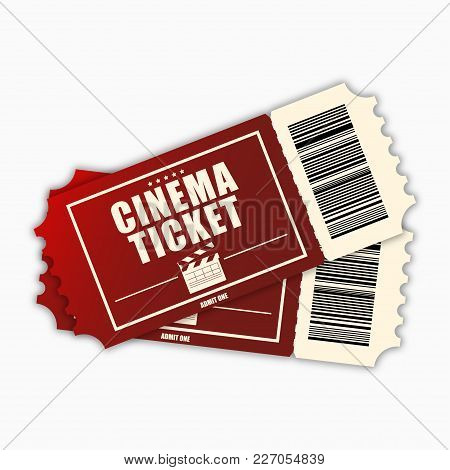 Cinema Ticket. Template Of Red Realistic Movie Tickets Isolated On White Background. Vecotr Illustrt