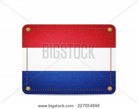 Denim Netherlands Flag On A White Background.