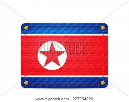 Denim North Korea Flag On A White Background.