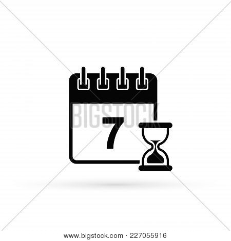 Calendar With Clock Icon. Vector Isolated Symbol.