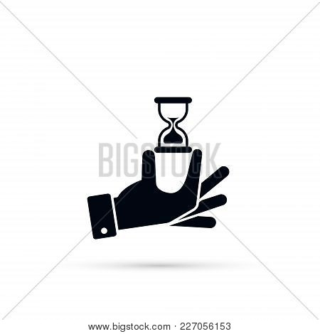 Hand Hold A Hourglass Vector Icon. Business And Time Management Concept. Isolated Illustration Flat