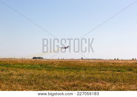 Engels, Russia - August 19, 2017: Day Of The Air Fleet. Military Bomber In The Air, In The Sky
