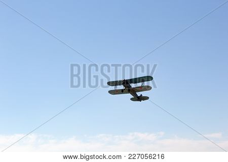 Engels, Russia - August 19, 2017: Day Of The Air Fleet. Biplane In The Sky, In The Air