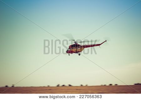 Engels, Russia - August 19, 2017: Air Fleet Day. Helicopter In Flight, In The Air