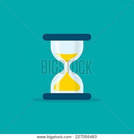 Hourglass Flat Style Illustration. Sandglass Or Sandclock Isolated Symbol, Flat Design Vector Eps10.