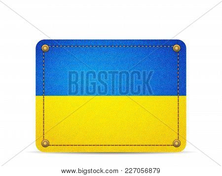 Denim Ukraine Flag On A White Background.