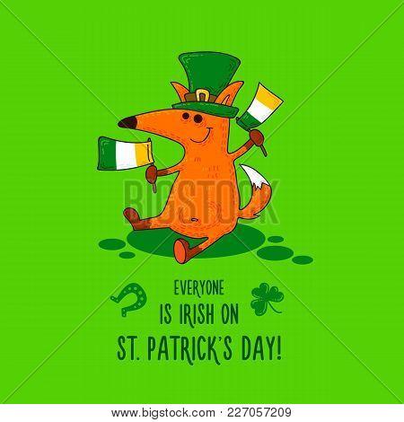 Saint Patrick's Day Card With Fox And Irish Simbols