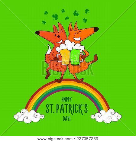 Saint Patrick's Day Card With Foxes And Irish Simbols