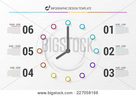 Business Concept With Clock. Infographic Design Template. Vector Illustration