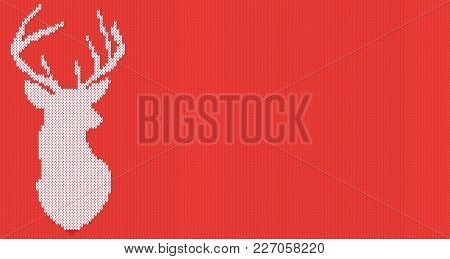 Knitted Head Deer Silhouette. Vector Illustration With Copy Space