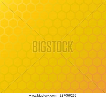 Honeycomb Yellow Background Of Hexagons In Colors Of Honey. Vector Seamles Pattern With Copy Space