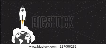 Space Rocket Leave The Earth. Vector Illustration With Copy Space