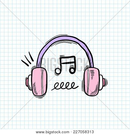 Illustration of headphone isolated on background