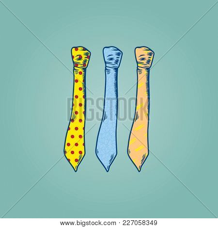 Three Drawing Neckties Vector Illustration on Mint Green Background