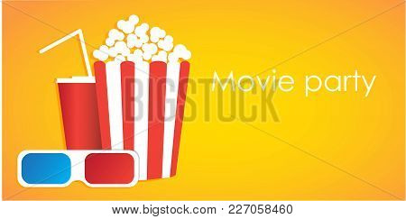 Movie Set Box With Popcorn, Soda Water, 3d Glasses. Vector Illustration In Flat Style With Copy Spac