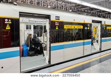 Train Carriage In Metro With Inscription, Women Only, Tehran, Iran.