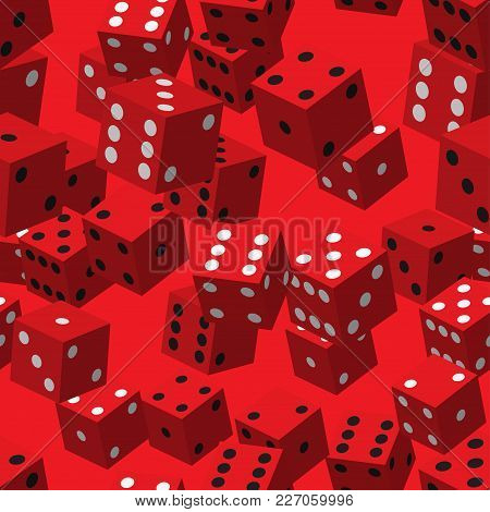 Red Dice Seamless Pattern On Red Background