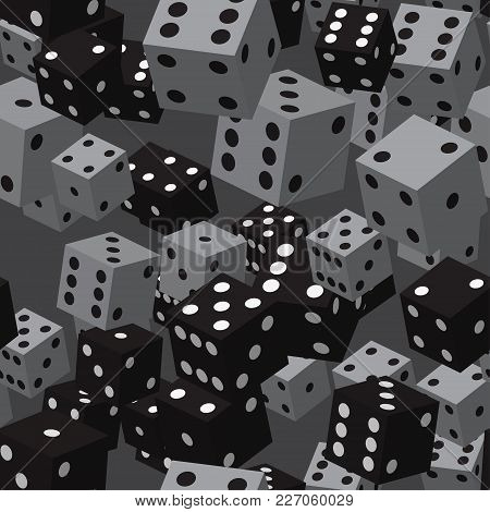 Black Grey Dice Seamless Pattern On Grey Background