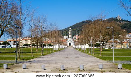 Viana Do Castelo, Portugal - February 19, 2017 : Chapel Of Our Lady Of The Agony In Front And In The