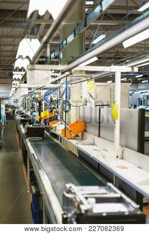 Conveyor Belt Of Assembly Line For Office Equipment In Factory