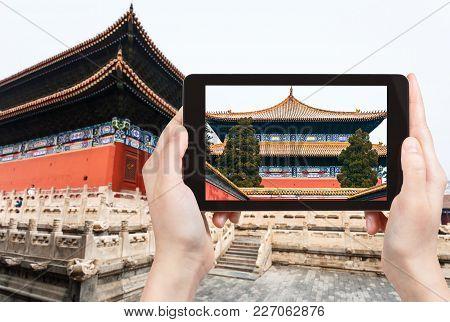Tourist Photographs Taimiao Temnple In Beijing