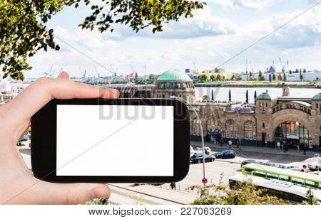 Travel Concept - Tourist Photographs St Pauli Landungsbrucken (sankt Pauli Piers) Landing Place In P
