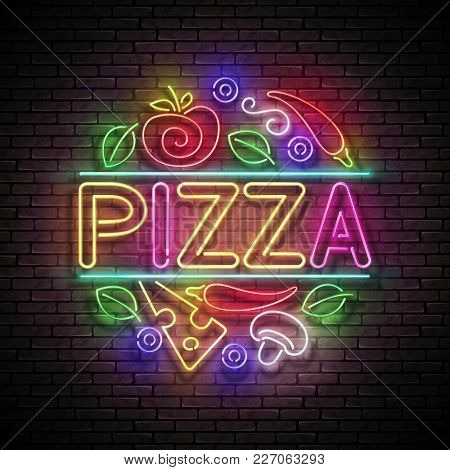 Italian Pizza Round Signboard. Cheese, Mushroom, Basil, Tomato, Pepper. Shiny Neon Light Poster, Fly