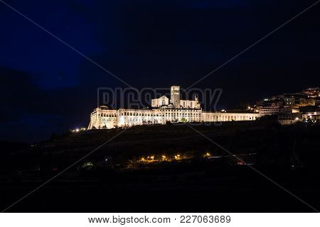 Night Panorama Of Assisi - Province Of Perugia, Umbria Region, Italy, Europe