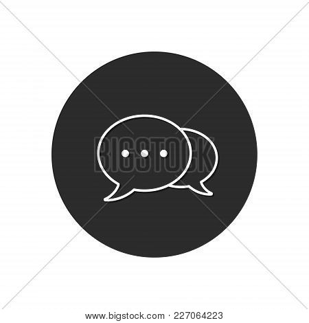 Speech Bubble Icon Isolated On Black Circle. Vector Chat Button.
