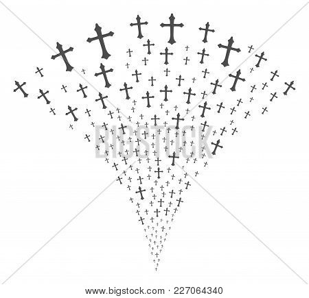 Christian Cross Festive Fountain. Vector Illustration Style Is Flat Iconic Symbols. Object Fountain