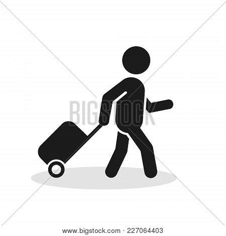 Passenger With Rolling Bag Icon. Vector Isolated Minimal Symbol.