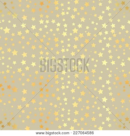 Gold Star Seamless Pattern. Abstract Black Modern Seamless Pattern With Gold Confetti Stars. Vector