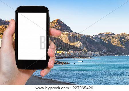 Travel Concept - Tourist Photographs Giardini Naxos Town And Taormina City On Cape In Sicily Italy I