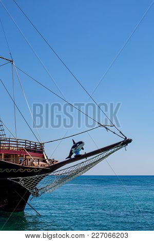 Killer Whale Toy Used As Mascot On A Bowsprit Of A Tourist Sailing Ship In Greece
