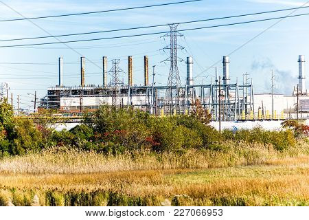 Industrial Factory In Delaware Or New Jersey With Pipeline Pollution, Refinery Plant For Processing