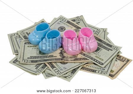Ahorizontal Shot Of A  Blue And Pink Baby Booty Sits On A Pile Of Twenty And Ten Dollar Bills On A W