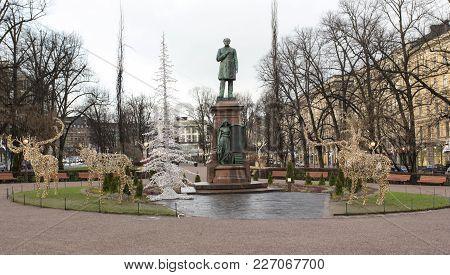 Helsinki, Finland - December 27, 2017: Statue In Helsinki Park